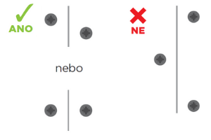 Vzájemné uspořádání šroubů při připevňování sdk desek