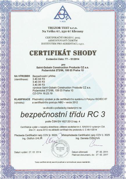 Certifikát shody na bezpečnostní třídu RC 3