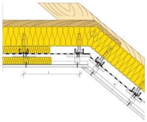 Umístění parozábrany mezi prvky podkonstrukce