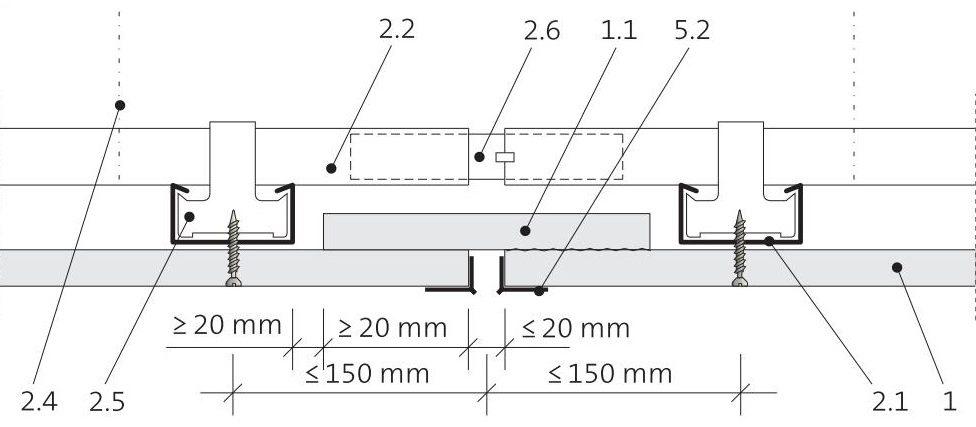 Dilatace podhledu podél montážních profilů