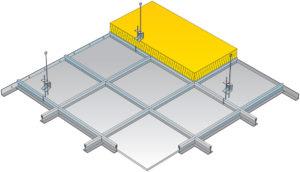 Podhled tvořen kazetami nebo lamelami