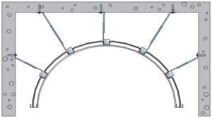 Obloukový podhled za použití sádrovláknitých desek Glasroc F Riflex