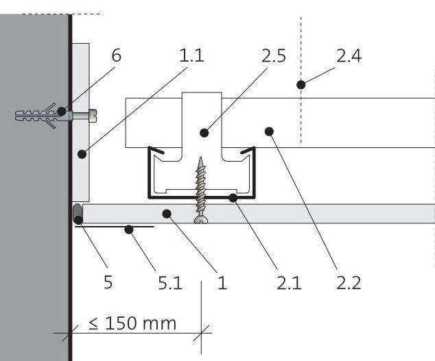 Napojení podhledu na stěnu 5.60.01