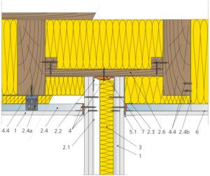 Napojení příčky na konstrukci podkroví