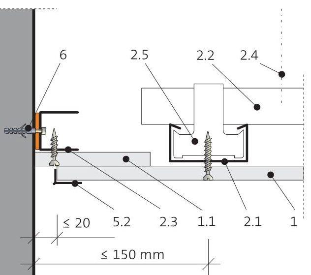 Napojení podhledu na stěnu 5.60.03