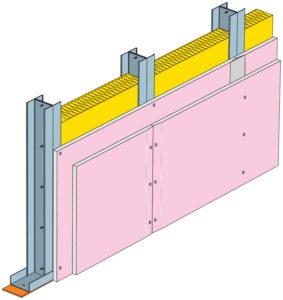 Konstrukce stěny šachet opláštěných protipožárními sádrokartonovými deskami